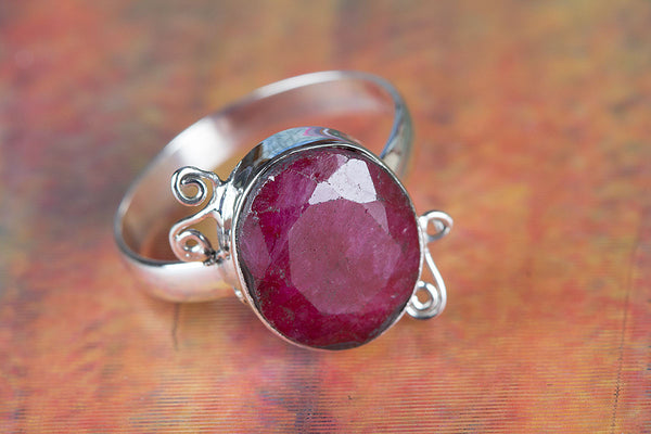 Ruby Ring, 925 sterling silver, Girl / Women Ring, Ruby Stone Ring, Stone Ring, Gift Ring,