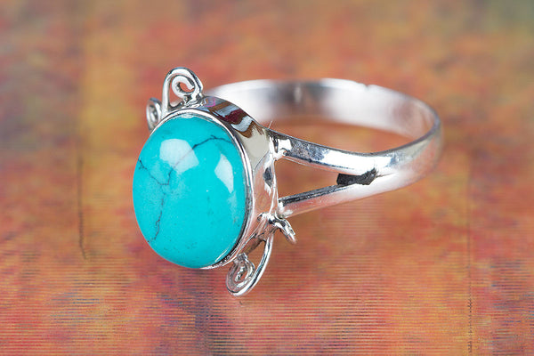 Turquoise Ring, 925 Sterling Silver, Petite Ring, Unique designer Ring, Boho Jewelry, Hippie Ring, Everyday Ring, Anniversary Ring, Gift Her
