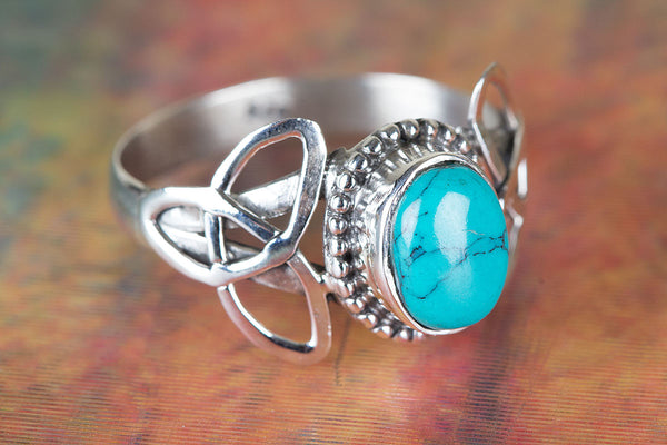 Turquoise Ring, 925 Sterling Silver, Boho Ring, Statement Ring, Granuation Ring, Gypsy Ring, Everyday Ring, Promise Ring, Hippie Ring, Engagement Ring, Solitaire Ring, Gift Her.