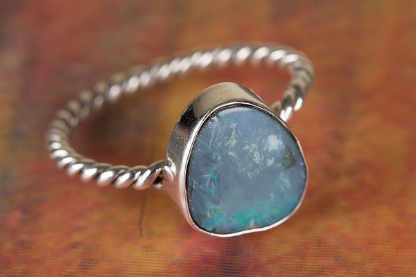 Awesome Australian Opal Gemstone Sterling Silver Ring