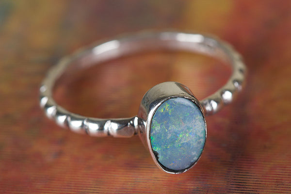 Gorgeous Australian Opal Gemstone Sterling Silver Ring,