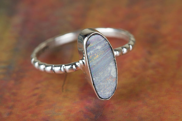 Fantastic Australian Opal Gemstone Sterling Silver Ring,
