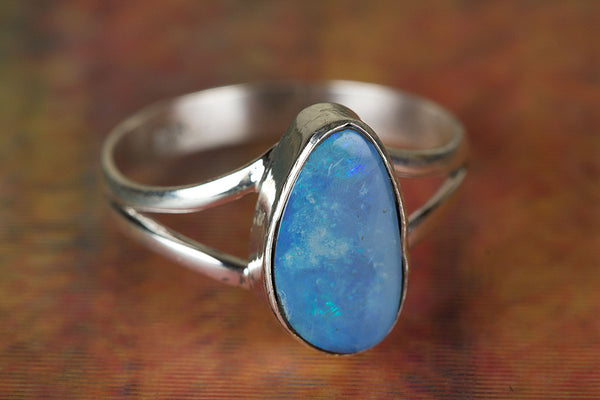 Australian Opal Gemstone Sterling Silver Ring,