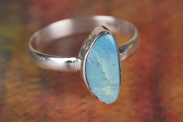 Wonderful Australian Opal Gemstone Sterling Silver Ring,
