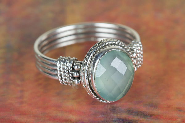 Faceted Aqua Chalcedony Gemstone Sterling Silver Ring,