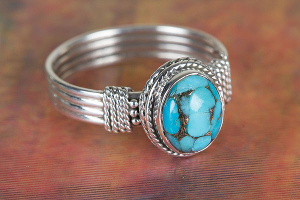 Charming Blue Copper Turquoise Gemstone Silver Ring,