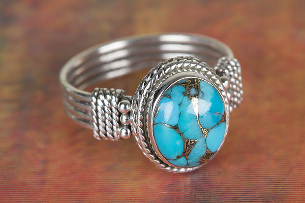 Healing Blue Copper Turquoise Gemstone Silver Ring