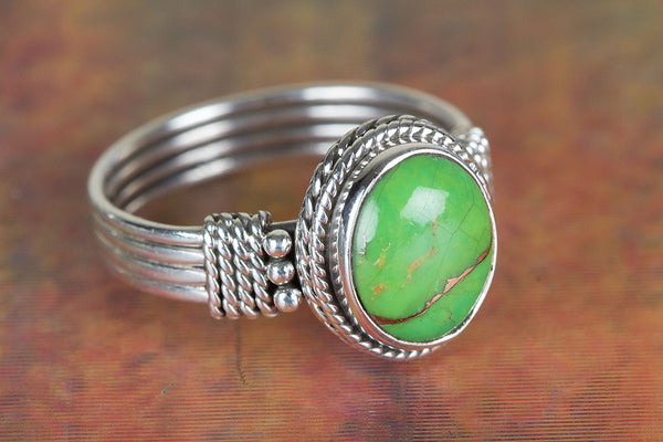 Chunky Green Turquoise Gemstone Sterling Silver Ring,