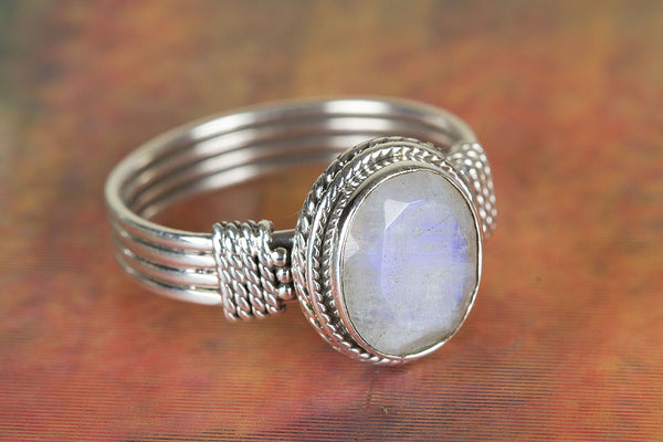Faceted Rainbow Moonstone Gemstone Sterling Silver Ring