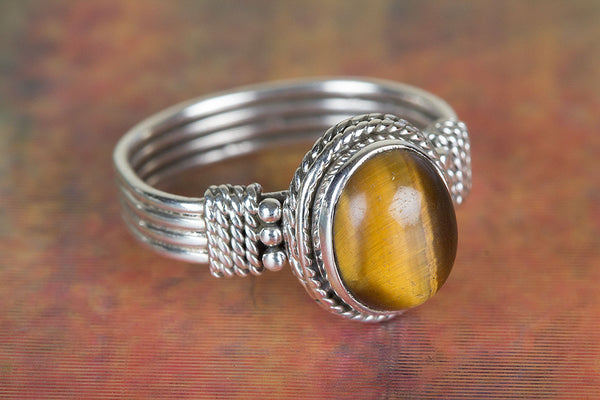 Beautiful Tiger Eye Gemstone Sterling Silver Ring,