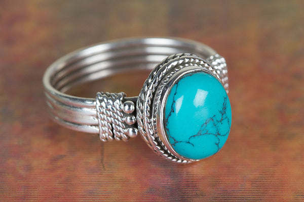 Fantastic Turquoise Gemstone Sterling Silver Ring,