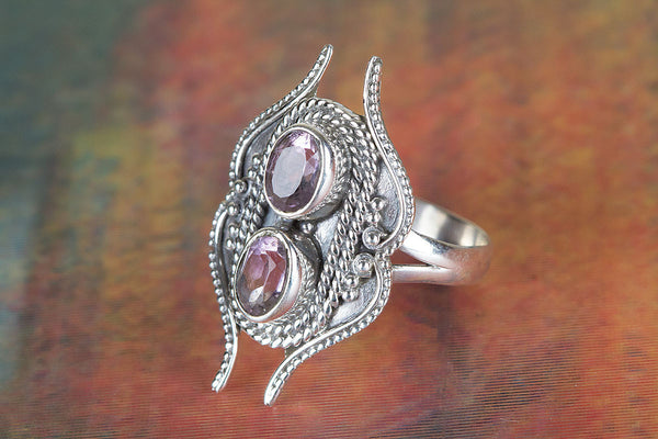 Faceted Amethyst Gemstone Sterling Silver Ring