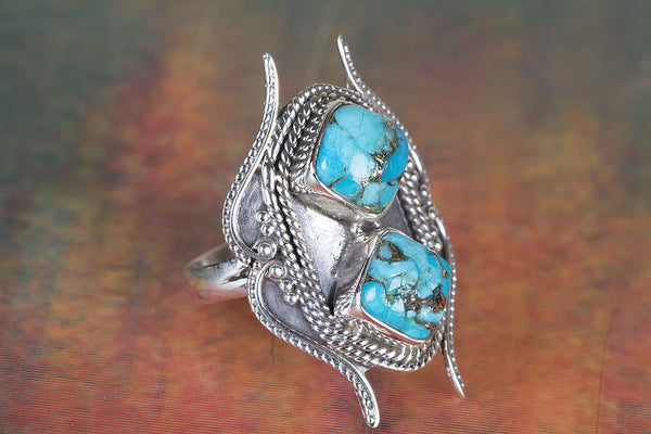 Lovely Blue Copper Turquoise Gemstone Sterling Silver Ring,