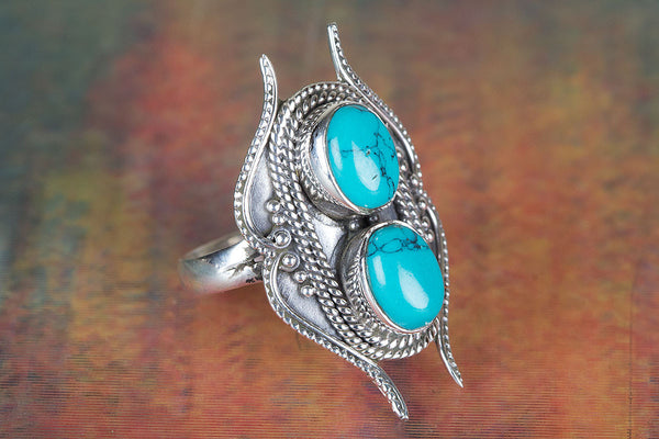 Lovely Turquoise Gemstone Sterling Silver Ring,