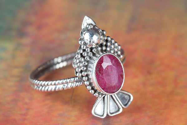 Ruby Ring, 925 Sterling Silver, Filigree Ring, Antique Ring, Cocktail Ring, Engagement Ring, Boho Ring,