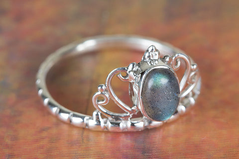 Labradorite Gemstone Sterling Silver Ring,