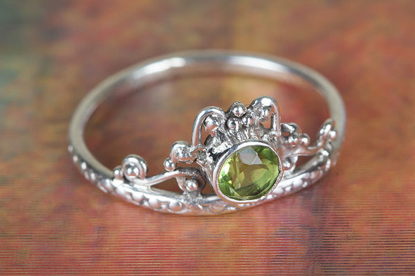 Faceted Peridot Sterling Silver Ring,