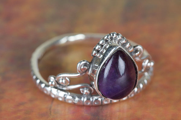 Amethyst Gemstone Ring, Pure Sterling Silver