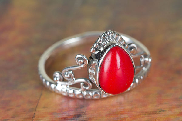 Coral Gemstone Sterling Silver Ring