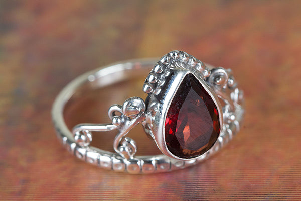 Faceted Garnet Gemstone Silver Ring