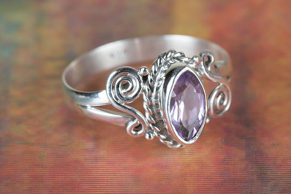 Handmade Faceted Amethyst Silver Ring