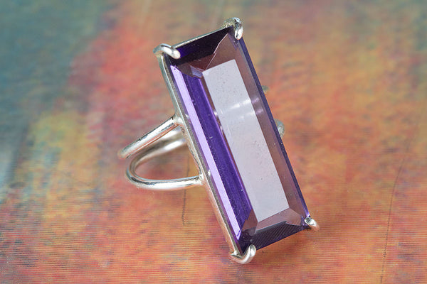 Faceted Amethyst Lab Gemstone Sterling Silver Ring,