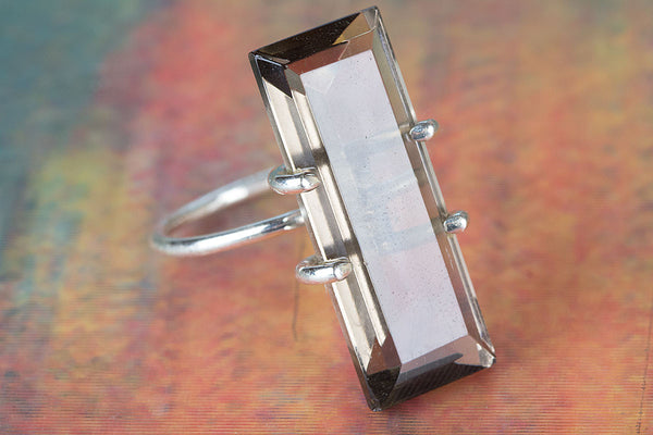 Faceted Smoky Quartz Lab Gemstone Sterling Silver Ring,