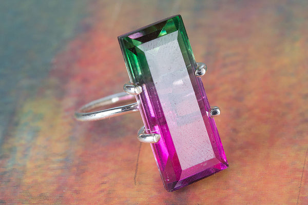 Tourmaline Lab Gemstone Sterling Silver Ring