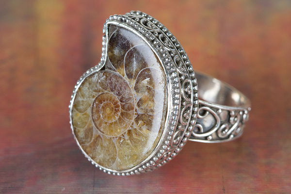 Amazing Ammonite Sterling Silver Ring