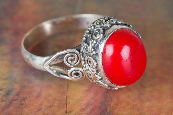 Amazing Coral Gemstone Sterling Silver Ring,