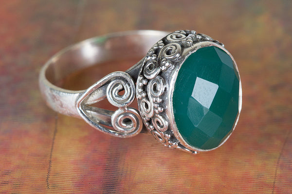 Pure Sterling Silver Green Onyx Ring