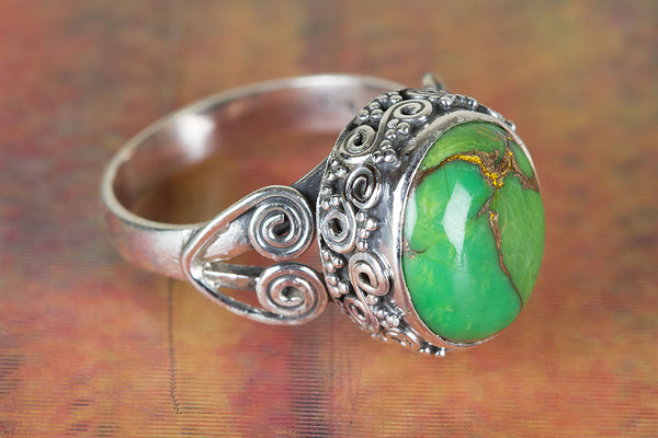 Wonderful Green Turquoise Sterling Silver Ring,