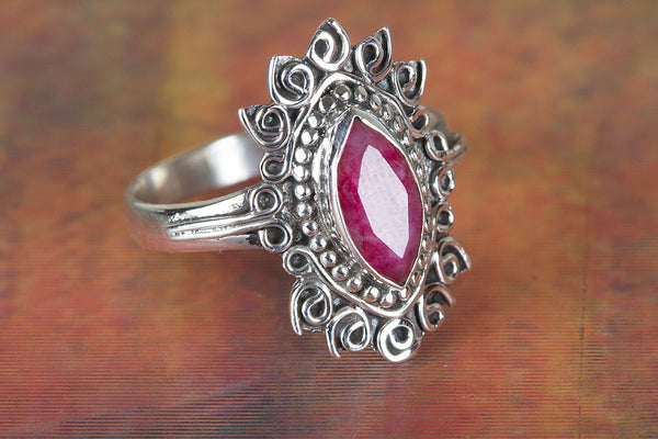 Ruby Ring, 925 sterling silver, Girl / Women Ring, Ruby Stone Ring, Stone Ring, Gift Ring