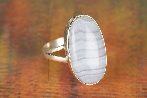 Wonderful Blue Less Agate Gemstone Sterling Silver Ring,