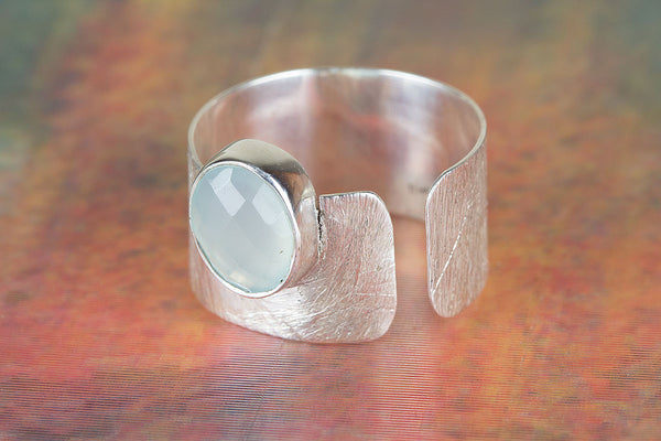 Wonderful Sterling Silver Aqua Chalcedony Gemstone Ring