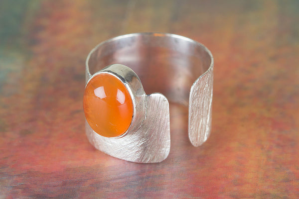 Carnelian Gemstone Sterling Silver Ring,