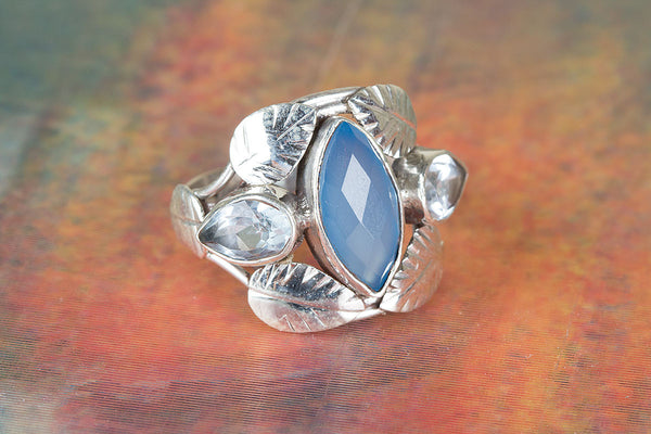Blue Chalcedony Ring, 925 Sterling Silver, Dainty Ring, Charm Ring, Designer Ring, Alternative Ring, Vintage Ring, Special Occasion Ring, Boho Band Ring, Statement Ring, Wedding Ring, Gift Her.