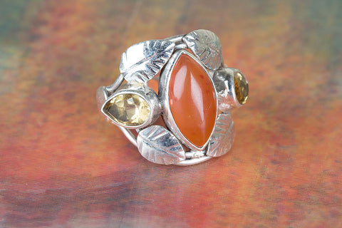 Carnelian Gemstone Sterling Silver Ring