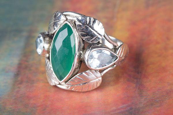 Green Onyx Gemstone Sterling Silver Ring,