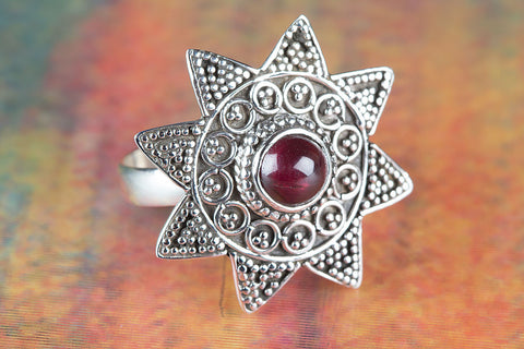 Amazing Garnet Gemstone Sterling Silver Ring