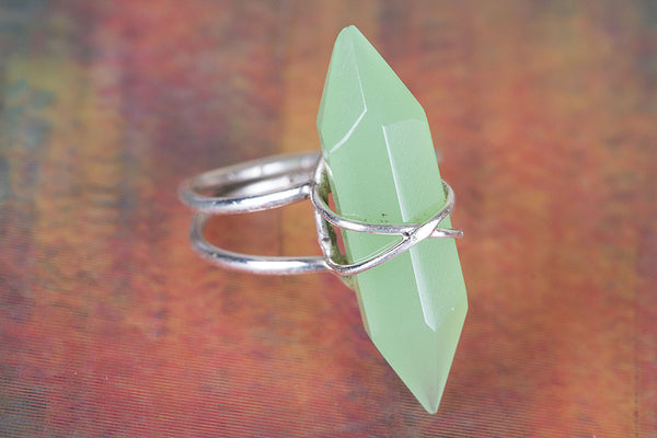 Aqua Chalcedony Gemstone Sterling Silver Ring,