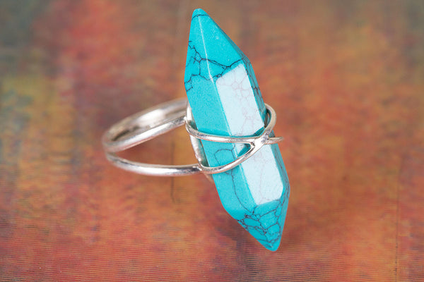 Beautiful Turquoise Gemstone Sterling Silver Ring,