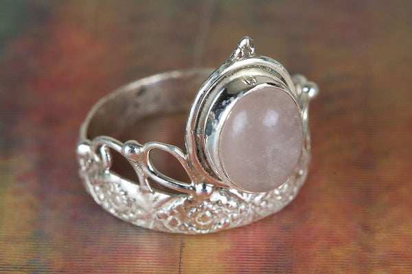 Rose Quartz Gemstone Sterling Silver Ring