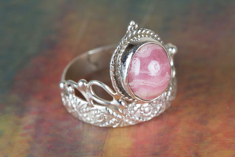 Amazing Rhodochrosite Gemstone Sterling Silver Ring,