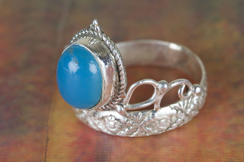 Amazing Blue Chalcedony Gemstone Sterling Silver Ring