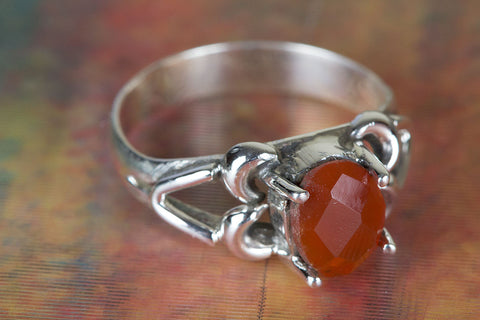 Amazing Carnelian Gemstone Sterling Silver Ring