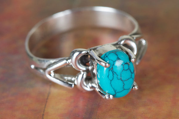 Turquoise Ring 925 Silver Prong Ring Antique Gypsy Ring Trendy Ring Elegant Ring Bohemian Ring Classic Design Ring Engagement Ring Rare Ring Gift Her.
