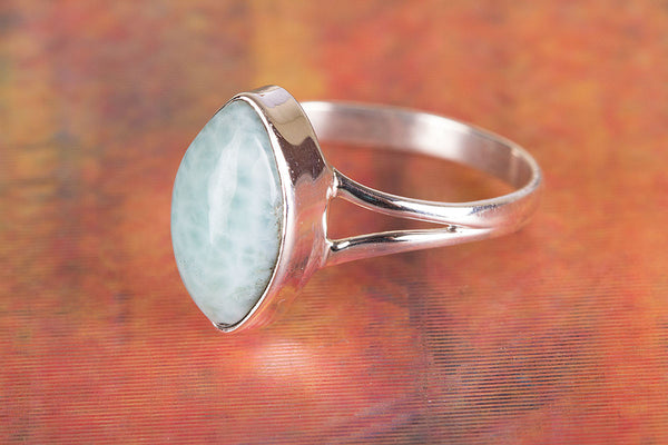 Amazing Larimar Gemstone Sterling Silver Ring