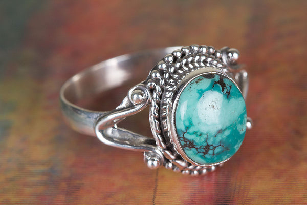 Natural Turquoise Gemstone Sterling Silver Ring,