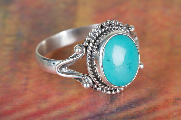 Wonderful Sterling Silver Natural Turquoise Gemstone Ring